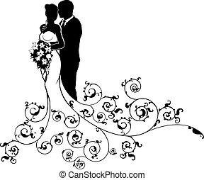 silhouette, stallknecht, braut, paar, abstrakt, wedding