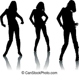 Silhouette-Tänzerinnen
