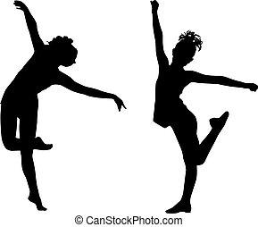 Silhouette tanzende Kinder