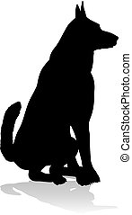 silhouette, tier, hund, haustier
