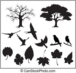 Silhouette Vektor, Baum, Vögel, haut ab