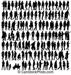 silhouette, vektor, schwarz, leute