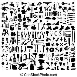 Silhouette verschiedener Themen und Werkzeuge. Eine Vektor-Illustration