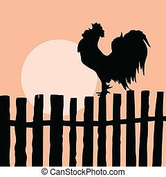 Silhouette vom Schwanz auf dem alten Zaun