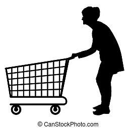Silhouette von älteren Frauen, die leere Einkaufswagen schieben.