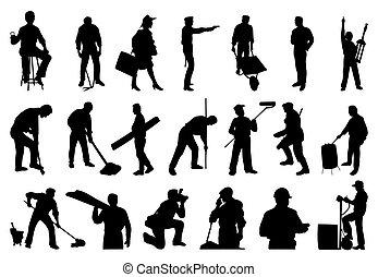 Silhouette von Arbeitern. Eine Vektor-Illustration