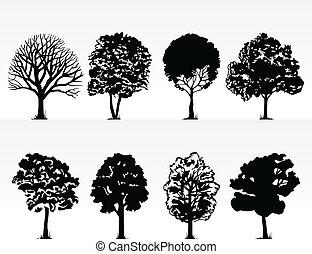 Silhouette von Bäumen auf weißem Hintergrund. Eine Vektor-Illustration