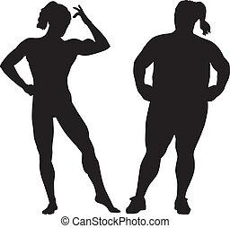Silhouette von Bodybuilder und fetter Frau