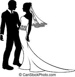 Silhouette von Braut und Bräutigam Hochzeitspaar