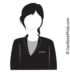 Silhouette von dem Mädchen im Anzug