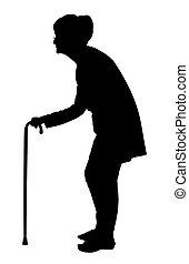 Silhouette von Elderly Frau mit bent zurück gehen mit Stock.