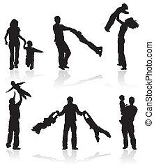 Silhouette von Eltern mit Kindern