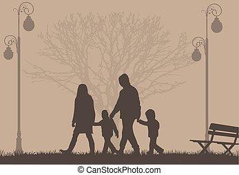 Silhouette von Eltern und Kindern.