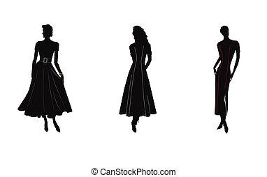 Silhouette von Frauen in Kleidern