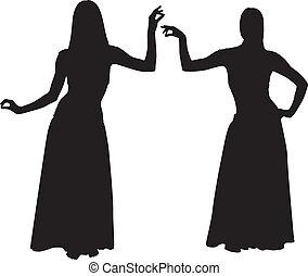Silhouette von Frauen tanzenden Bauch