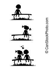 Silhouette von Jungen und Mädchen, die auf einer Bank sitzen