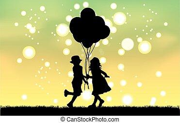 Silhouette von Kindern mit Ballon.