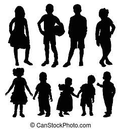 Silhouette von Kindern.