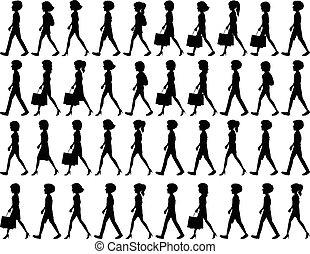 Silhouette von Leuten, die laufen.