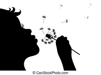 Silhouette von Mädchen, die Dandelio bläst.