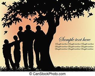 Silhouette von Menschen und Baum.