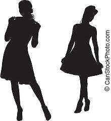 Silhouette von Modemädchen