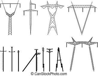 Silhouette von Pylonenübertragung