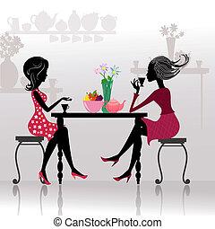 Silhouette von schönen Mädchen in Cafés.