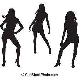 Silhouette von tanzenden Frauen