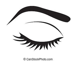 Silhouette von Wimpern und Augenbraue