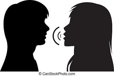 Silhouette von zwei jungen sprechenden Frauen