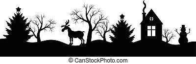 Silhouette Winter Weihnachten Landsca.