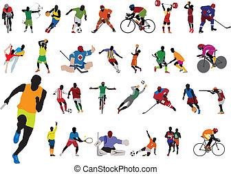 silhouetten, athlet