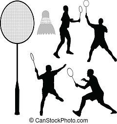silhouetten, badminton