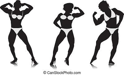 silhouetten, bodybuilder, junge frauen
