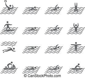 Silhouetten der Figuren Schwimmer Symbole gesetzt