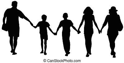 Silhouetten der glücklichen Familie laufen.