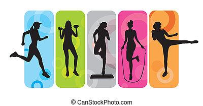 silhouetten, fitness