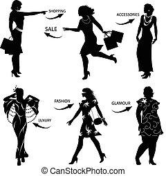 silhouetten, frau, mode, shoppen