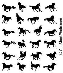 Silhouetten galoppierender Pferde.