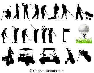 silhouetten, golfen, maenner, spielende