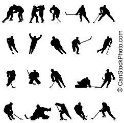 silhouetten, hockey, sammlung