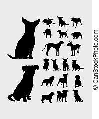 silhouetten, hund, sammlung