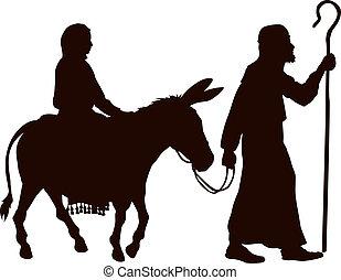 silhouetten, joseph, mary