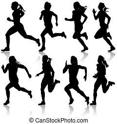 Silhouetten. Läufer auf Sprint, Frauen. Vector Illustration.