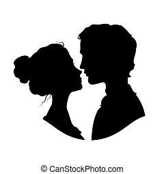 silhouetten, paar, mögen