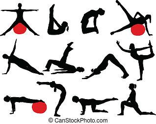 silhouetten, pilates