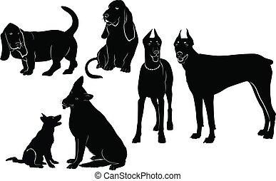 silhouetten, satz, hunden