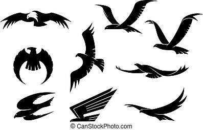 Silhouetten-Sets fliegender Vögel.