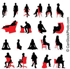 silhouetten, sitzen, leute